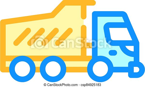 dumper truck color icon vector isolated illustration - csp84925183