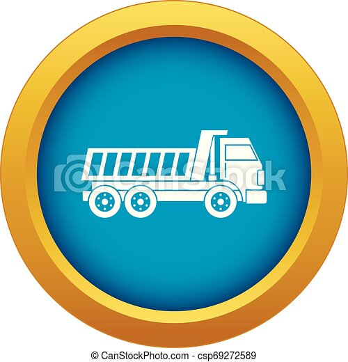 Dumper truck icon blue vector isolated - csp69272589