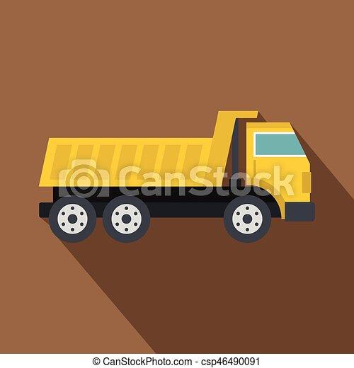 Dumper truck icon, flat style - csp46490091