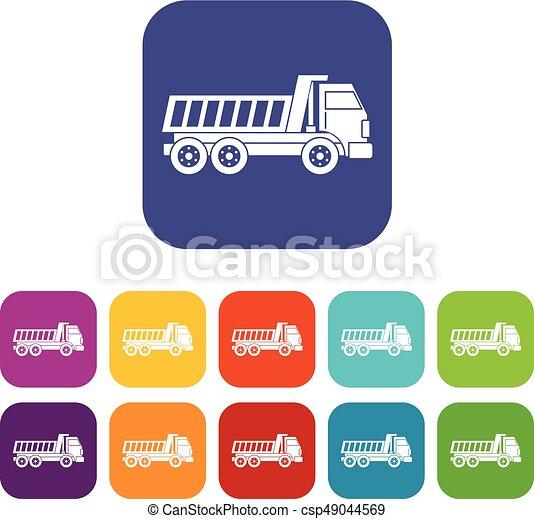 Dumper truck icons set flat - csp49044569