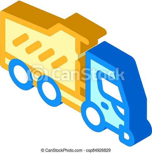 dumper truck isometric icon vector isolated illustration - csp84926829