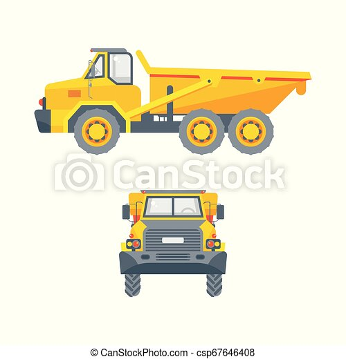 dumper truck side view and front view - csp67646408