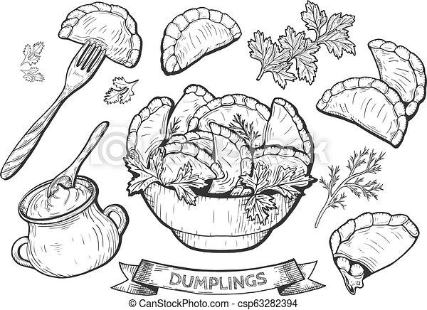 dumplings set illustration - csp63282394