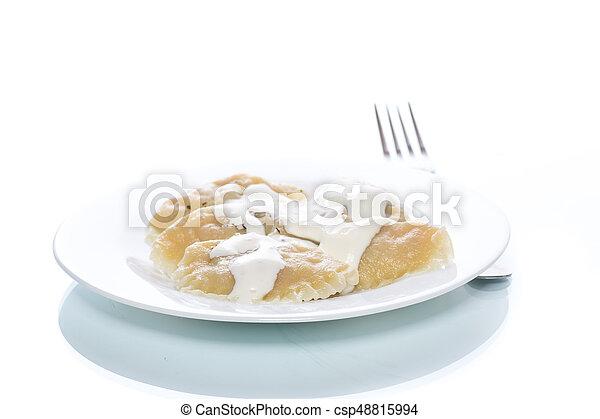 Dumplings stuffed with sour cream boiled - csp48815994