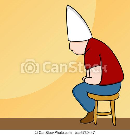 Dunce Hat Man on Stool - csp5789447