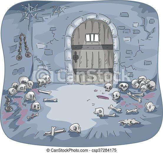 Dungeon Skulls Interior - csp37284175