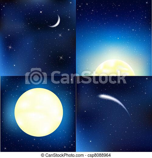dunkel blau, satz, himmelsgewölbe - csp8088964