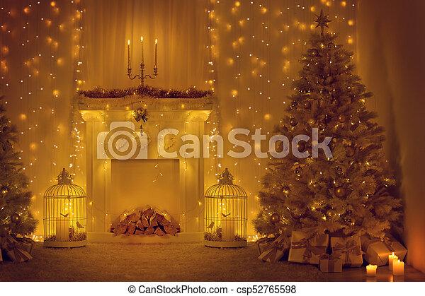 Weihnachtsdeko Lichter Innen.Dunkel Daheim Zimmer Baum Weihnachtsdeko Lichter Kaminofen Jahr Inneneinrichtung Neu Dekoriert Feiertag Beleuchtung Weihnachten