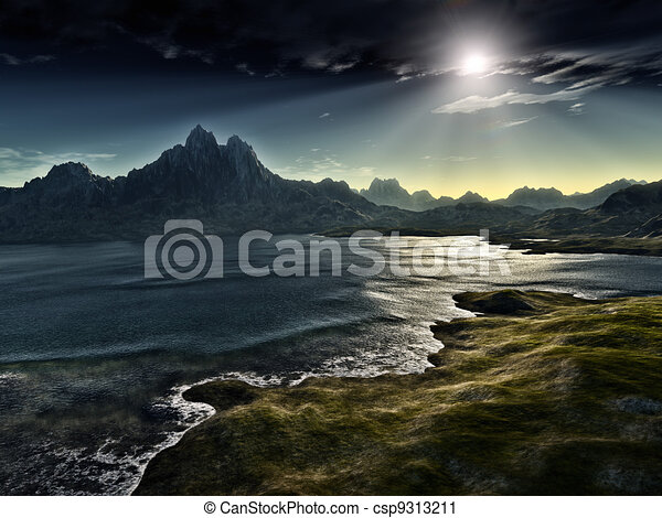 dunkel, fantasie, landschaftsbild - csp9313211