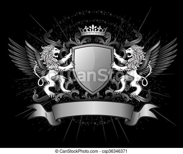 dunkel, loewen, emblem, schutzschirm, besitz - csp36346371