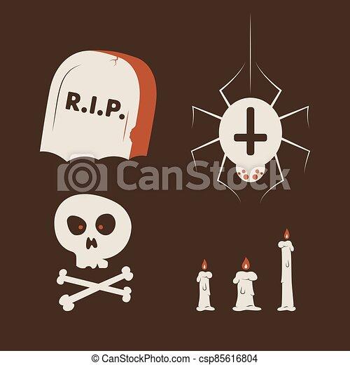 Duotone Cartoon halloween symbols set. Smiley and evil emotions - csp85616804