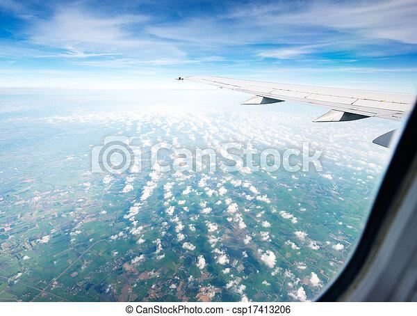 durante, altitudine, volo, aereo, ala - csp17413206