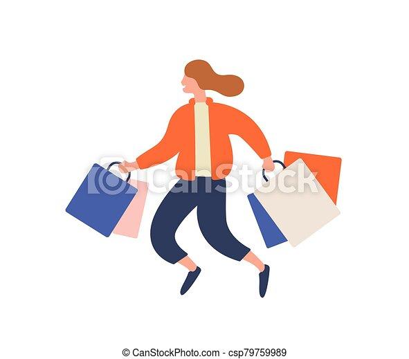 durante, feliz, coloreado, illustration., saltar, comprador, plano, niña, shopaholic, alegre, paquete, corriente, hembra, bolsa, compras, mujer, loco, white., venta, gozar, caricatura, descuento, vector, proceso de llevar, aislado - csp79759989