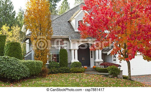 durante, residencial, estação, outono, lar - csp7881417