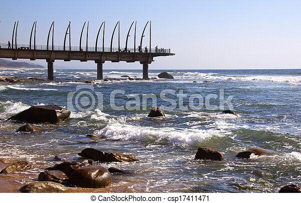 durban, afrique, rochers, repère, umhlanga, jetée, sud, vue - csp17411471