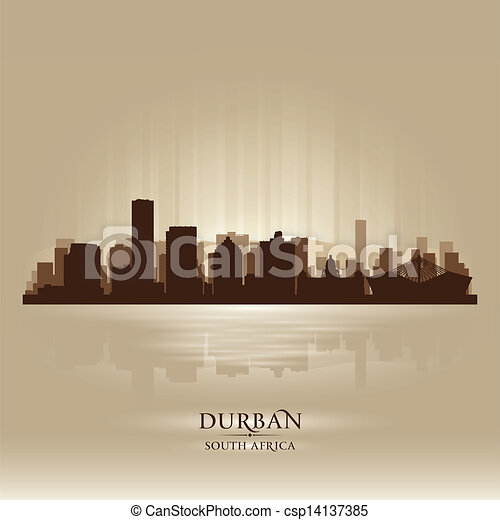 Durban South Africa city skyline silhouette - csp14137385