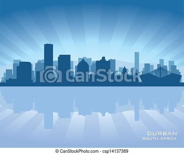 Durban South Africa city skyline silhouette - csp14137389