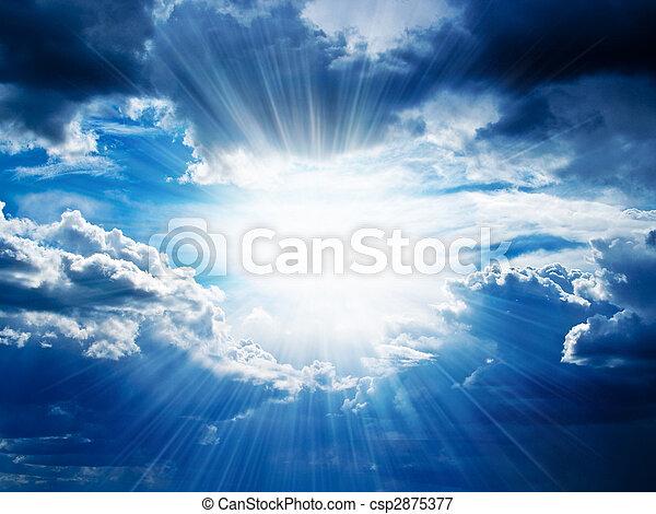 durch, bricht, strahlen, wolkenhimmel, sonnenschein - csp2875377