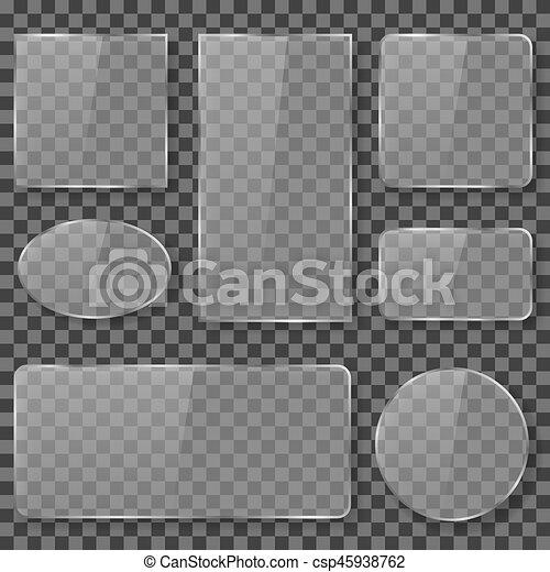 AuBergewohnlich Durchsichtig, Vektor, Glas, Platten, Banner, Plastik, Acryl, Bestand