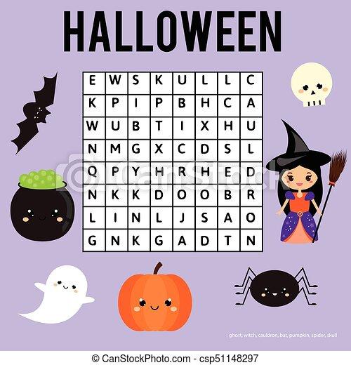 Durchsuchung, wort, game., puzzel, halloween, erzieherisch,... EPS ...