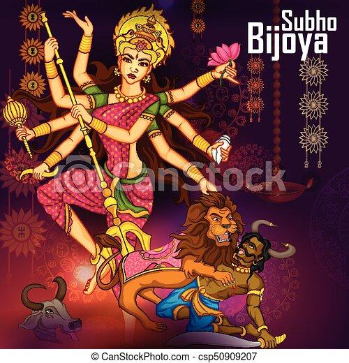durga, gudinde, dussehra, djævel, aflivning, mahishasura, vijayadashami, glade - csp50909207
