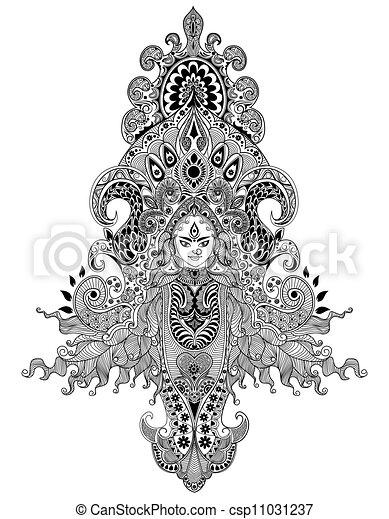 durga puja illustration of colorful goddess durga against abstract background. Black Bedroom Furniture Sets. Home Design Ideas