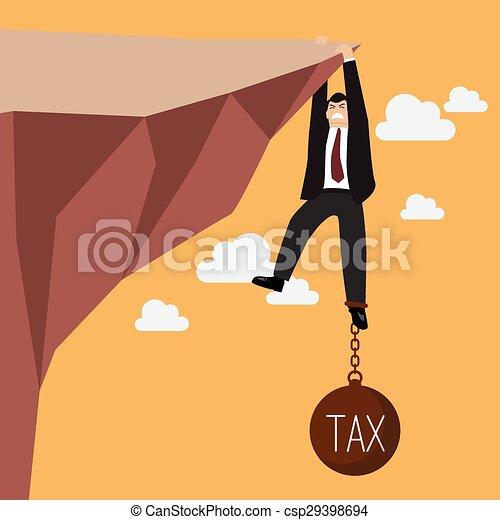 El hombre de negocios se esfuerza en mantener el acantilado con una carga fiscal - csp29398694