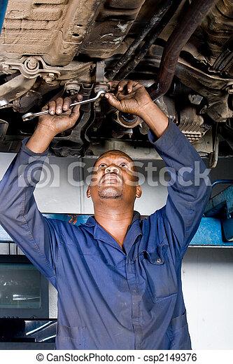duro, mecánico, trabajando, africano - csp2149376