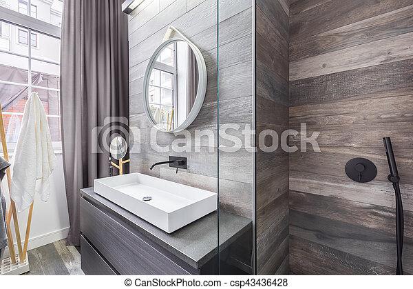 Dusche, badezimmer, becken. Badezimmer, countertop,... Stockfoto ...