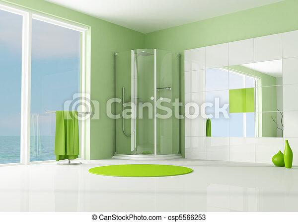 dusche, badezimmer, grün, kabine