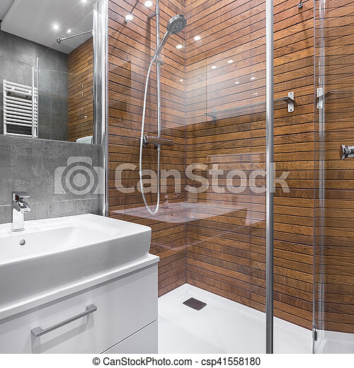 Badezimmer Mit Holz Effekt Dusche Modernes Badezimmer Mit