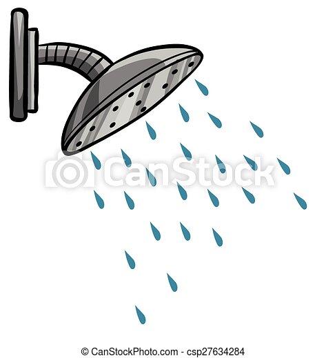 Dusche clipart  Dusche, auf, wasser, kommen, schließen, heraus.