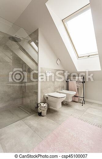 Dusche, glas, badezimmer, geräumig. Groß, badezimmer, kugel ...