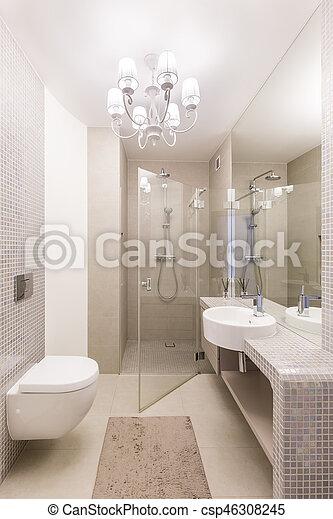 Dusche, glas, badezimmer, luxuriös. Badezimmer, kugel, luxuriös ...