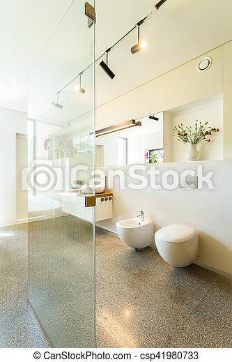 Dusche, glas, badezimmer, modern. Badezimmer, glas, modern ...