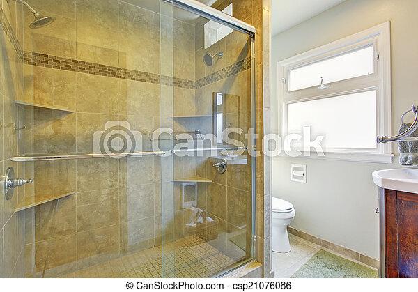 dusche, glas, badezimmer, modern, tür