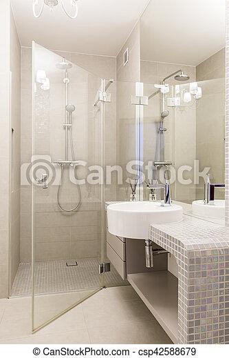 Dusche, glas, badezimmer, mosaik. Badezimmer, kabine, modern ...