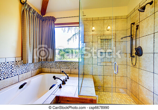 dusche, glas, badezimmer, natürlich, fliesenmuster