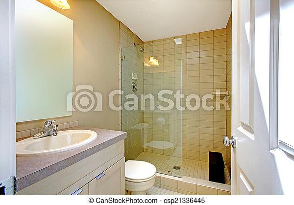 Dusche, glas, badezimmer, inneneinrichtung, tür. Badezimmer, tür ...