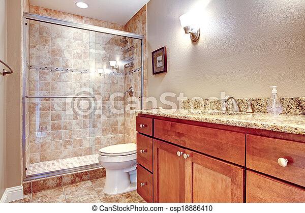 Dusche, glas, badezimmer, tür, elegant. Brauner, badezimmer ...