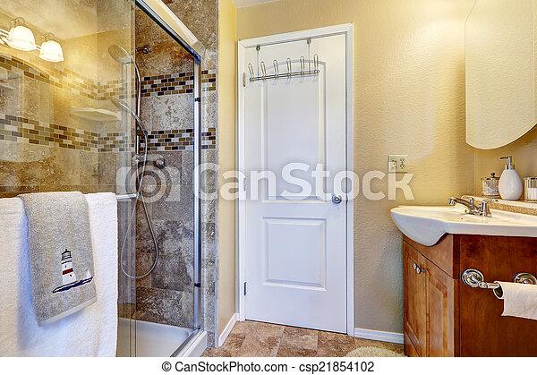 Dusche, glas, badezimmer, tür. Trimmen, badezimmer, tür ...