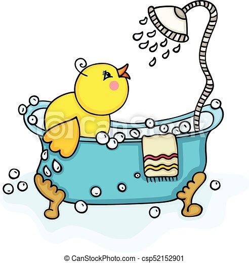 Dusche Küken Badewanne Gelber Glücklich Dusche Bild
