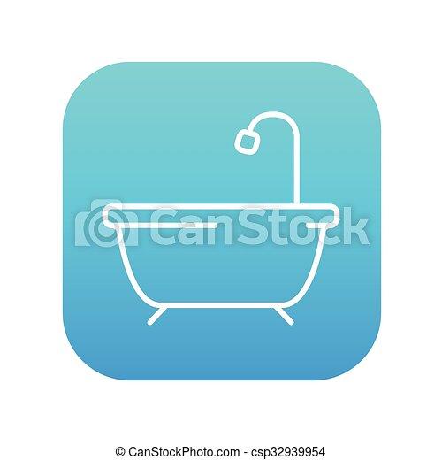 Duschkabine clipart  Dusche, linie, badewanne, icon. Blaues quadrat, gerundet,... Clipart ...