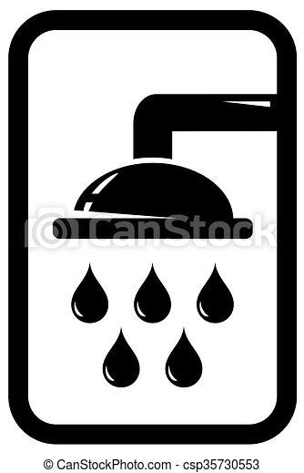 Dusche clipart  Dusche, schwarz, ikone. Silhouette, dusche, schwarz, fallender ...