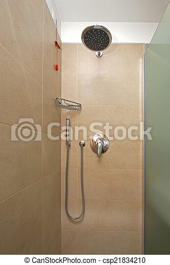 Dusche, wand. Innenseite, moderner zeitgenosse, dusche ...