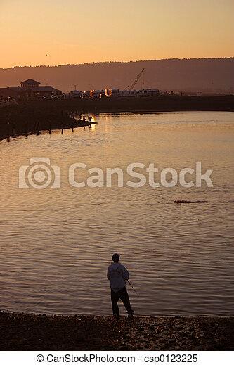 Dusk at Fishing Hole - csp0123225