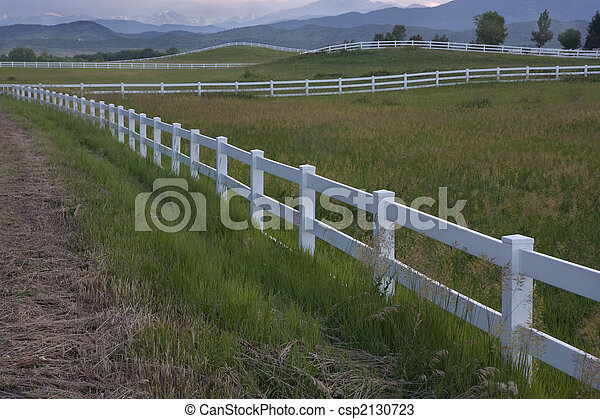 dusk at pasture in Colorado foothills - csp2130723