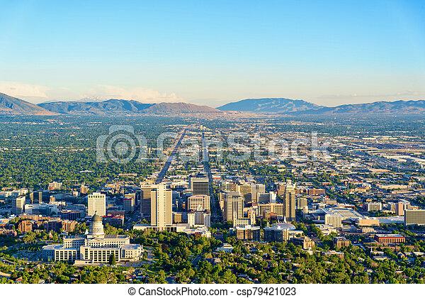 Dusk over Salt Lake City - csp79421023