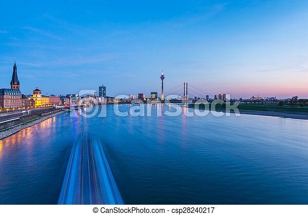 Dusseldorf cityscape at blue hour - csp28240217