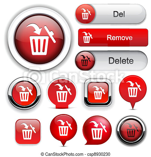 Dustbin high-detailed web button collection